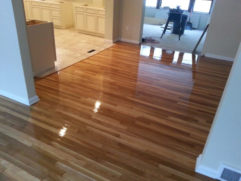 A recently refinished hardwood floor.