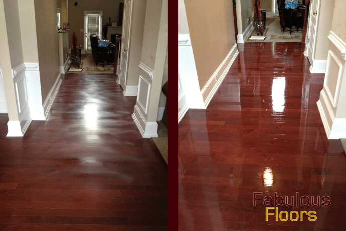 A before and after shot of a hardwood floor refinishing in Houston, TX