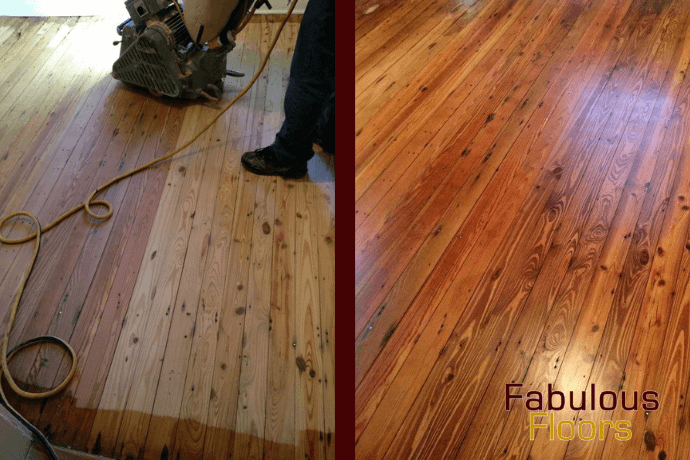Before and after hardwood floor refinishing in spring, tx