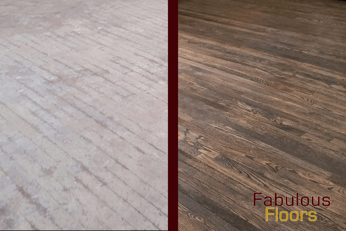 Before and after hardwood floor refinishing in Pasadena, TX