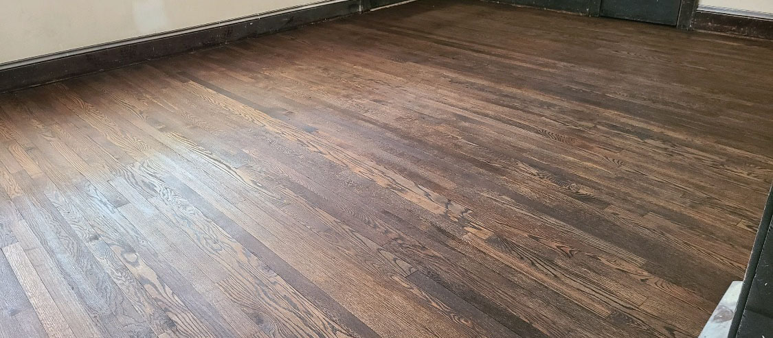 A refinished hardwood floor in the Houston area