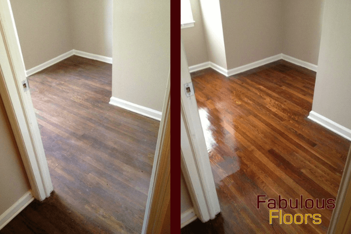 before and after hardwood floor refinishing in Sugar Land, TX