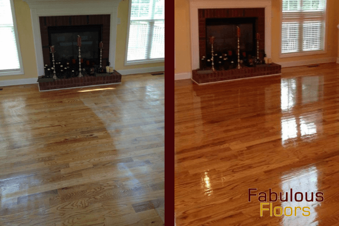 Before and after hardwood floor refinishing in the woodlands, tx