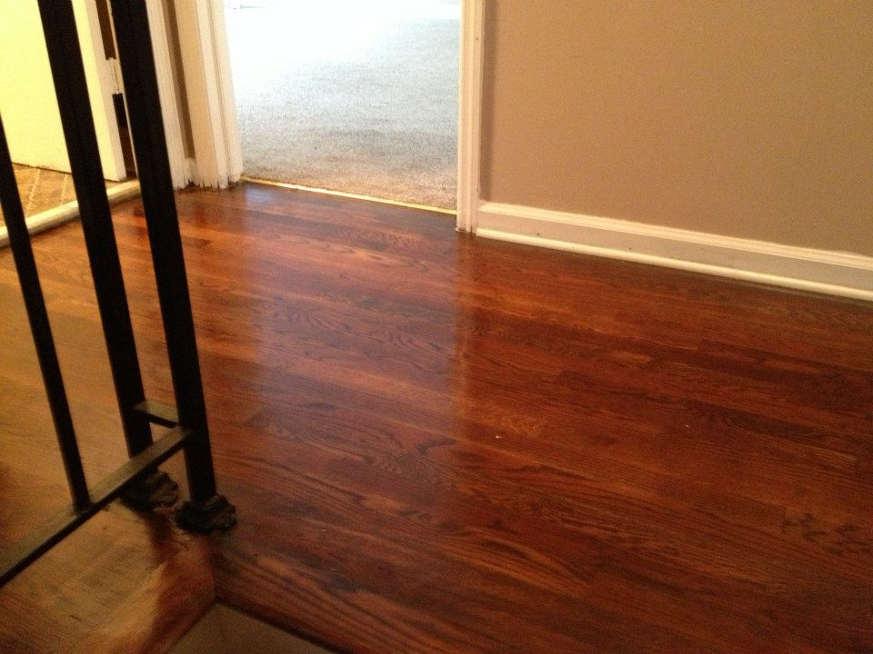 A photo take after a hardwood floor refinishing